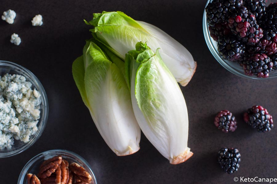 Endive, blackberry with blue cheese and pecans