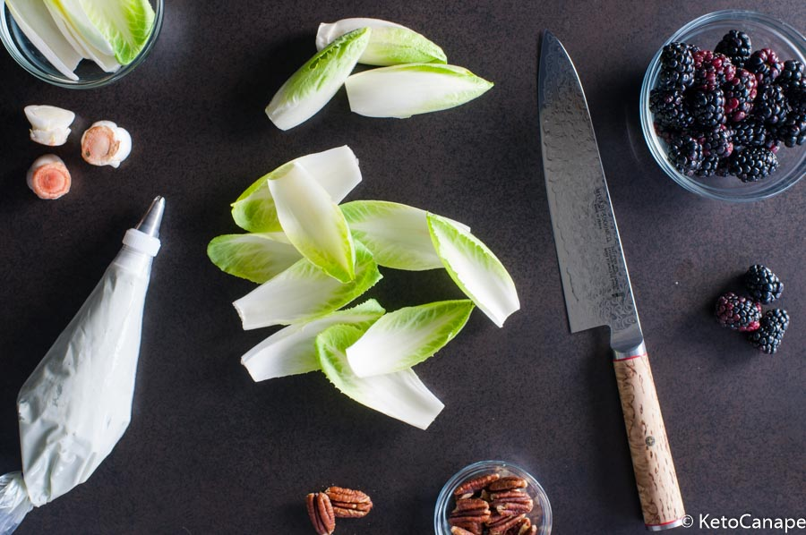 Endive, blackberry appetizer prep