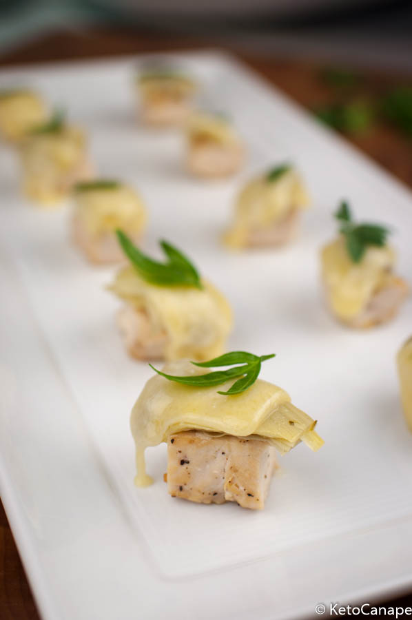 Chicken Artichoke Gruyère Canapes Plated