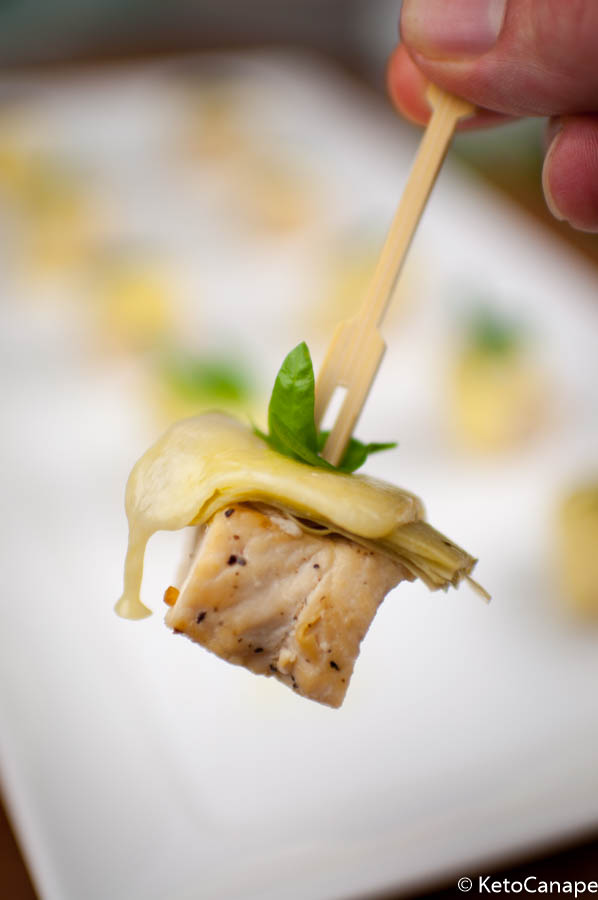 Chicken Artichoke Gruyère Canapes Assembled