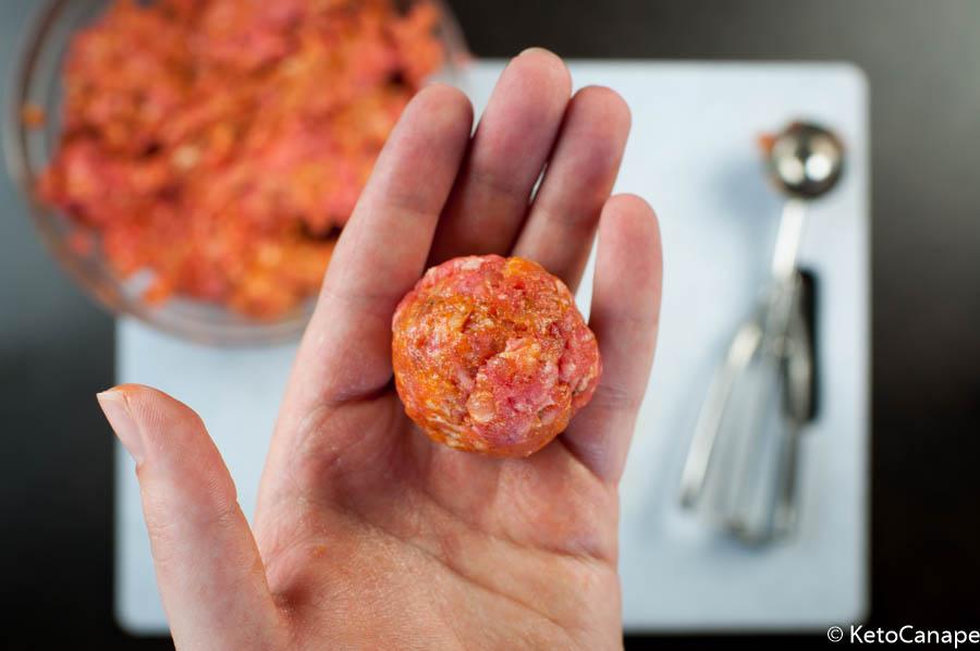 Italian meatball mozzarella appetizer 020 keto canape for Mozzarella canape