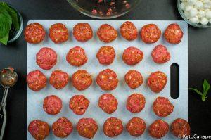 Italian meatball mozzarella and basil canapes all meatballs