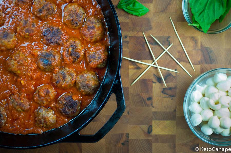Italian meatball mozzarella and basil canapes assembly