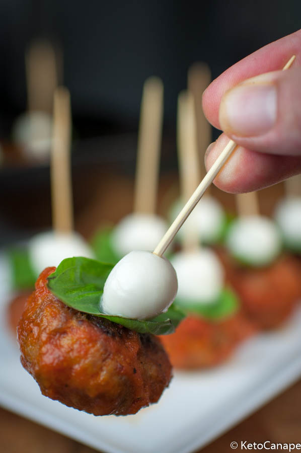 Italian meatball mozzarella and basil canapes keto canape for Mozzarella canape