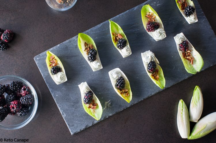 Keto Endive, Blackberry & Blue Cheese Appetizers