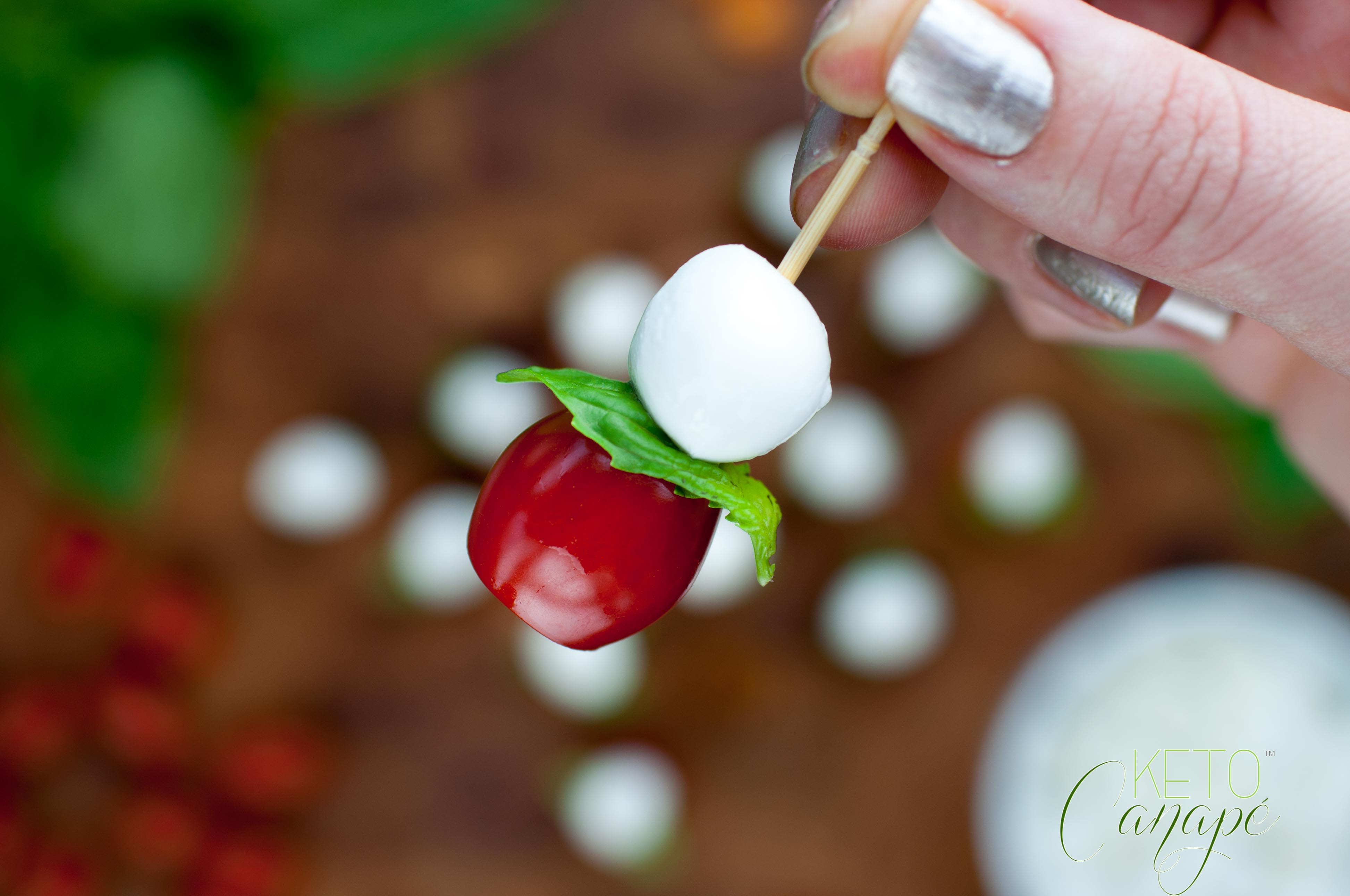 Tomato basil mozzarella canap s keto canape for Mozzarella canape